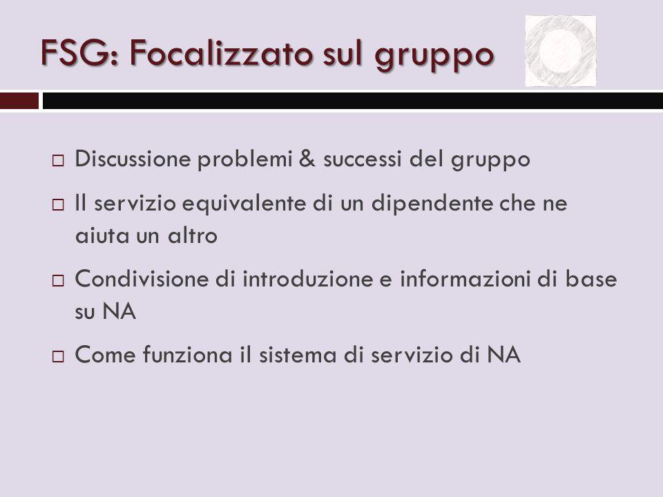 FSG: Focalizzato sul gruppo  Discussione problemi & successi del gruppo  Il servizio equivalente di un dipendente che ne aiuta un altro  Condivisione di introduzione e informazioni di base su NA  Come funziona il sistema di servizio di NA