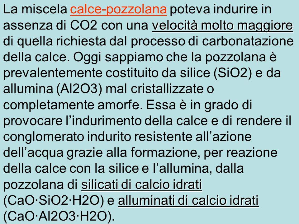 velocità molto maggiore silicati di calcio idrati alluminati di calcio idrati La miscela calce-pozzolana poteva indurire in assenza di CO2 con una velocità molto maggiore di quella richiesta dal processo di carbonatazione della calce.