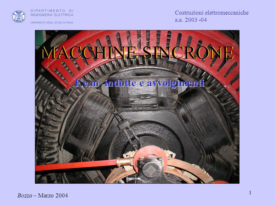 1 Costruzioni elettromeccaniche a.a. 2003 -04 Bozza – Marzo 2004 MACCHINE SINCRONE F.e.m indotte e avvolgimenti