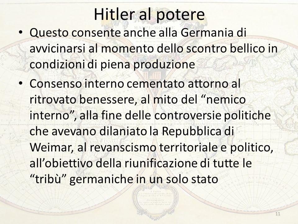 Hitler al potere 11 Questo consente anche alla Germania di avvicinarsi al momento dello scontro bellico in condizioni di piena produzione Consenso int