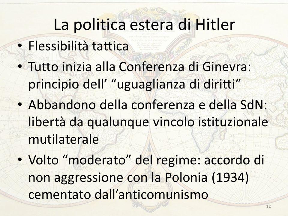 """La politica estera di Hitler Flessibilità tattica Tutto inizia alla Conferenza di Ginevra: principio dell' """"uguaglianza di diritti"""" Abbandono della co"""