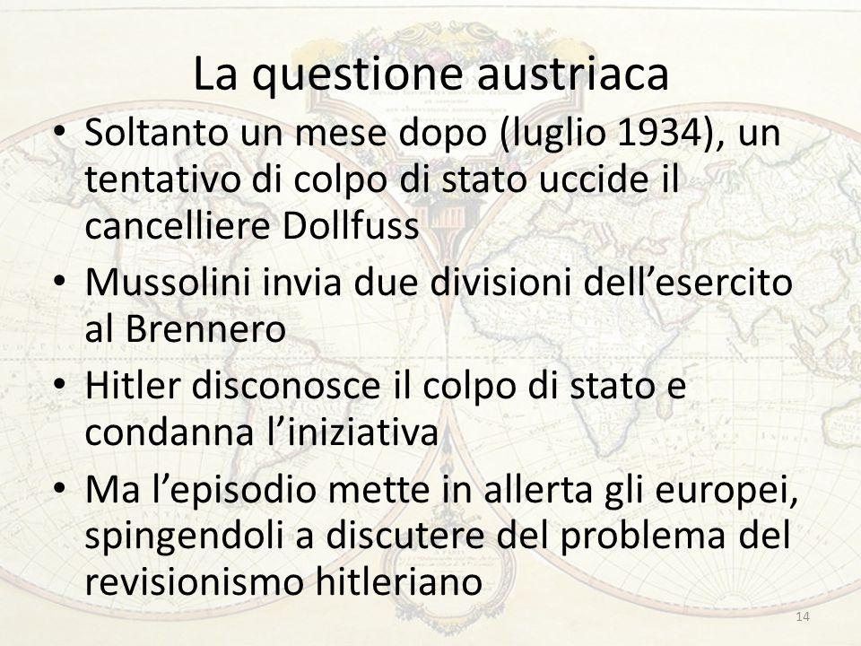 La questione austriaca Soltanto un mese dopo (luglio 1934), un tentativo di colpo di stato uccide il cancelliere Dollfuss Mussolini invia due division