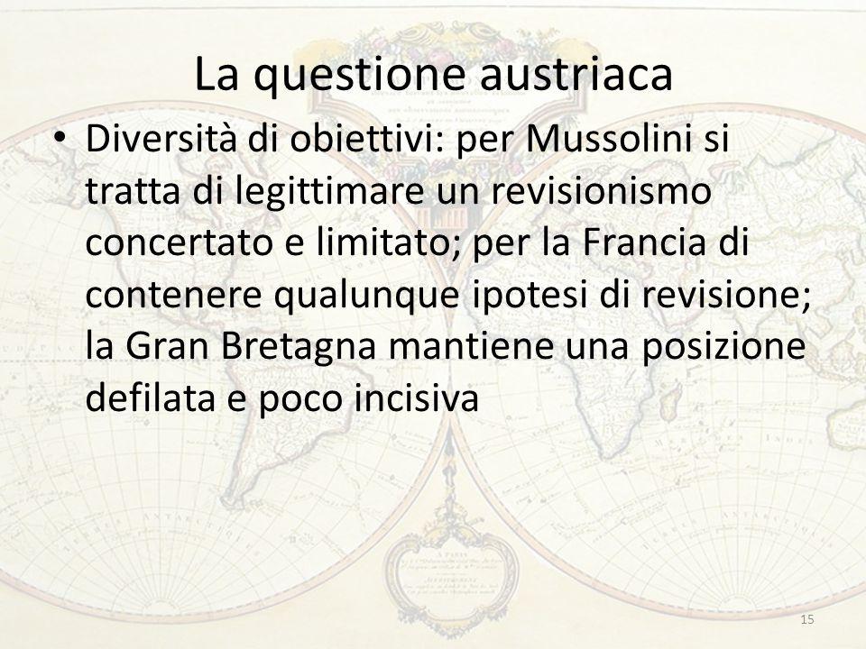 La questione austriaca Diversità di obiettivi: per Mussolini si tratta di legittimare un revisionismo concertato e limitato; per la Francia di contene