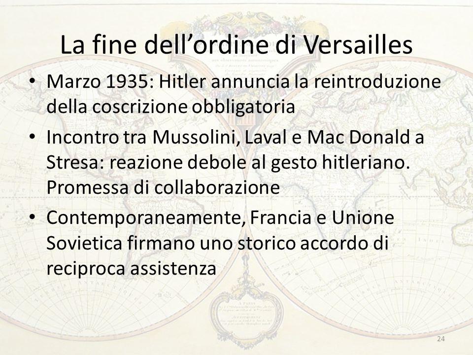 La fine dell'ordine di Versailles Marzo 1935: Hitler annuncia la reintroduzione della coscrizione obbligatoria Incontro tra Mussolini, Laval e Mac Don