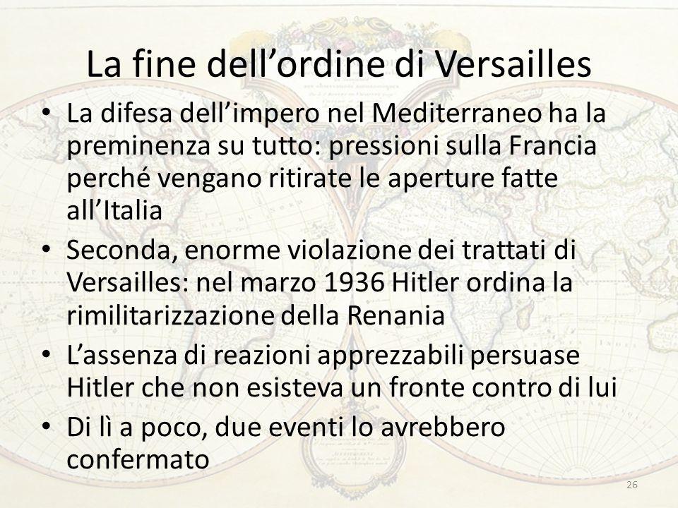 La fine dell'ordine di Versailles La difesa dell'impero nel Mediterraneo ha la preminenza su tutto: pressioni sulla Francia perché vengano ritirate le