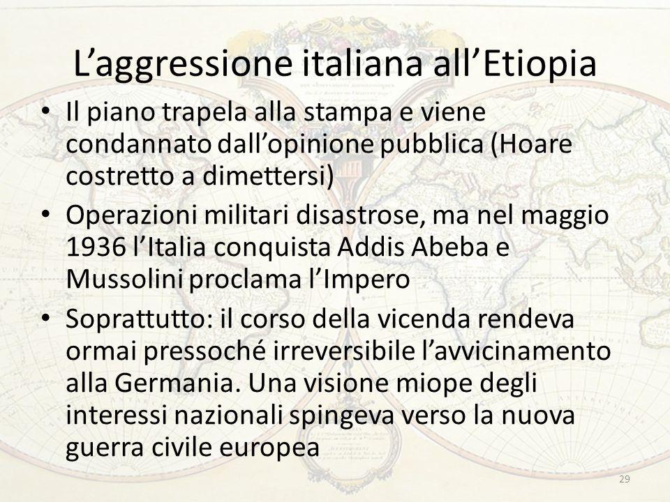L'aggressione italiana all'Etiopia Il piano trapela alla stampa e viene condannato dall'opinione pubblica (Hoare costretto a dimettersi) Operazioni mi