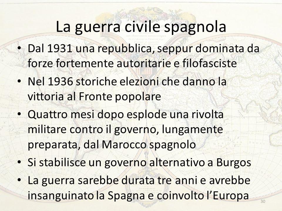La guerra civile spagnola Dal 1931 una repubblica, seppur dominata da forze fortemente autoritarie e filofasciste Nel 1936 storiche elezioni che danno
