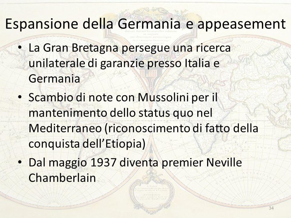 Espansione della Germania e appeasement La Gran Bretagna persegue una ricerca unilaterale di garanzie presso Italia e Germania Scambio di note con Mus