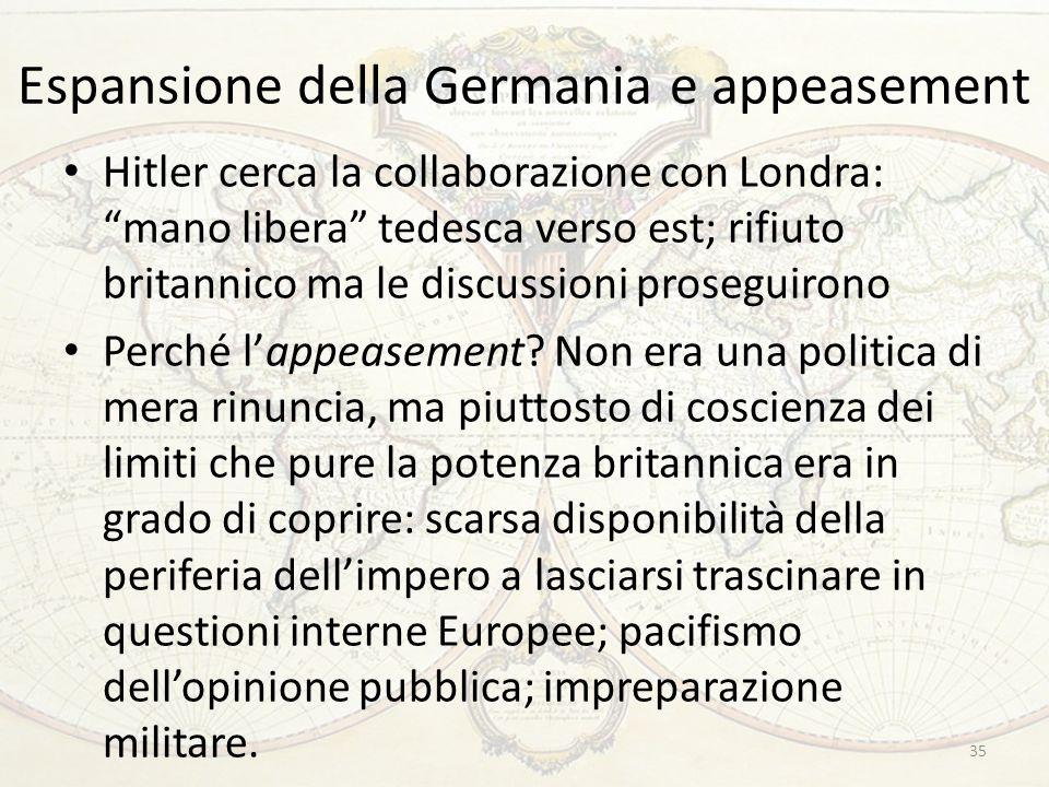 """Espansione della Germania e appeasement Hitler cerca la collaborazione con Londra: """"mano libera"""" tedesca verso est; rifiuto britannico ma le discussio"""