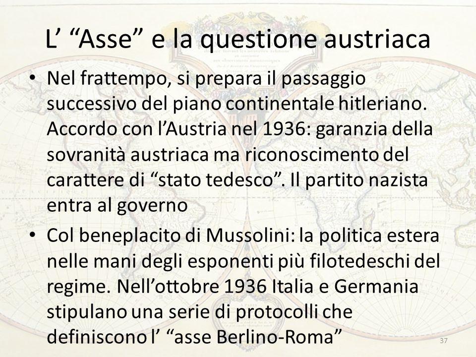 """L' """"Asse"""" e la questione austriaca Nel frattempo, si prepara il passaggio successivo del piano continentale hitleriano. Accordo con l'Austria nel 1936"""