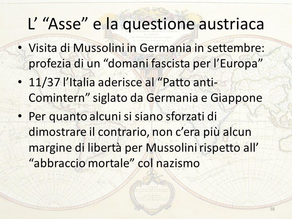 """L' """"Asse"""" e la questione austriaca Visita di Mussolini in Germania in settembre: profezia di un """"domani fascista per l'Europa"""" 11/37 l'Italia aderisce"""