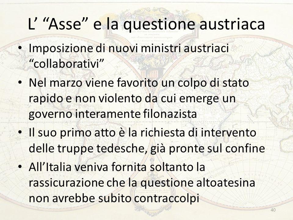 """L' """"Asse"""" e la questione austriaca Imposizione di nuovi ministri austriaci """"collaborativi"""" Nel marzo viene favorito un colpo di stato rapido e non vio"""