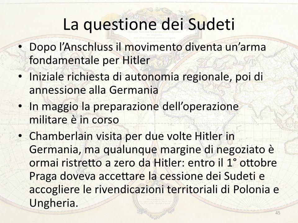 La questione dei Sudeti Dopo l'Anschluss il movimento diventa un'arma fondamentale per Hitler Iniziale richiesta di autonomia regionale, poi di anness