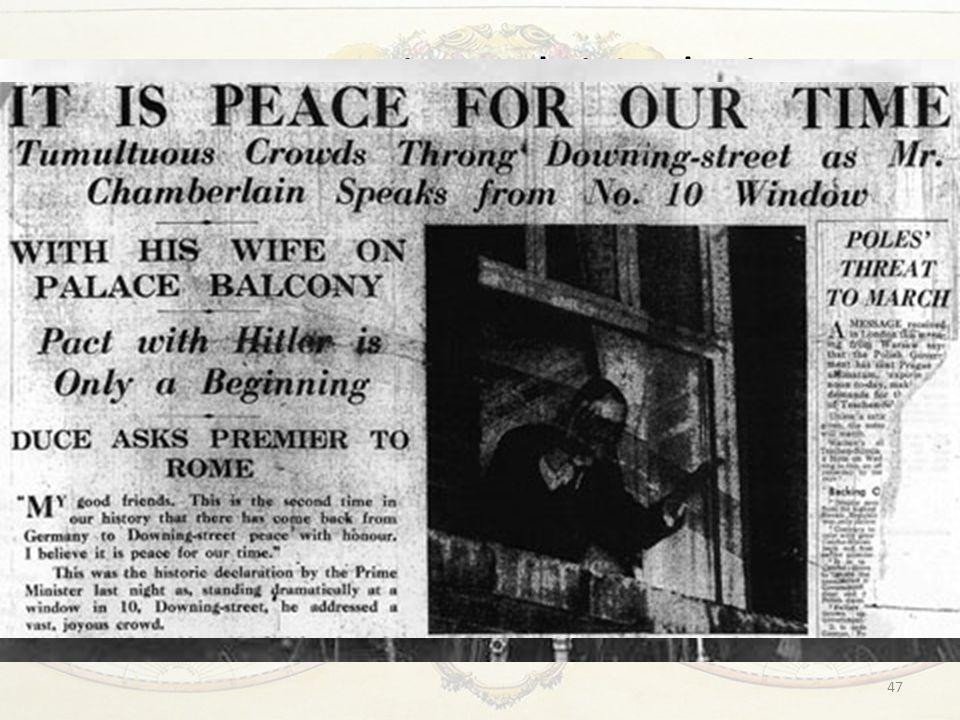 La questione dei Sudeti In un incontro separato con Chamberlain, Hitler firma un documento che ribadiva l'importanza delle buone relazioni con la Gran