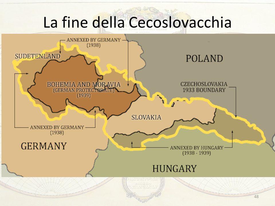 La fine della Cecoslovacchia …ma il principio di nazionalità non poteva giustificare la mossa successiva di Hitler Marzo 1939: promozione del dissidio