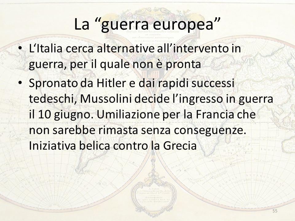 """La """"guerra europea"""" L'Italia cerca alternative all'intervento in guerra, per il quale non è pronta Spronato da Hitler e dai rapidi successi tedeschi,"""