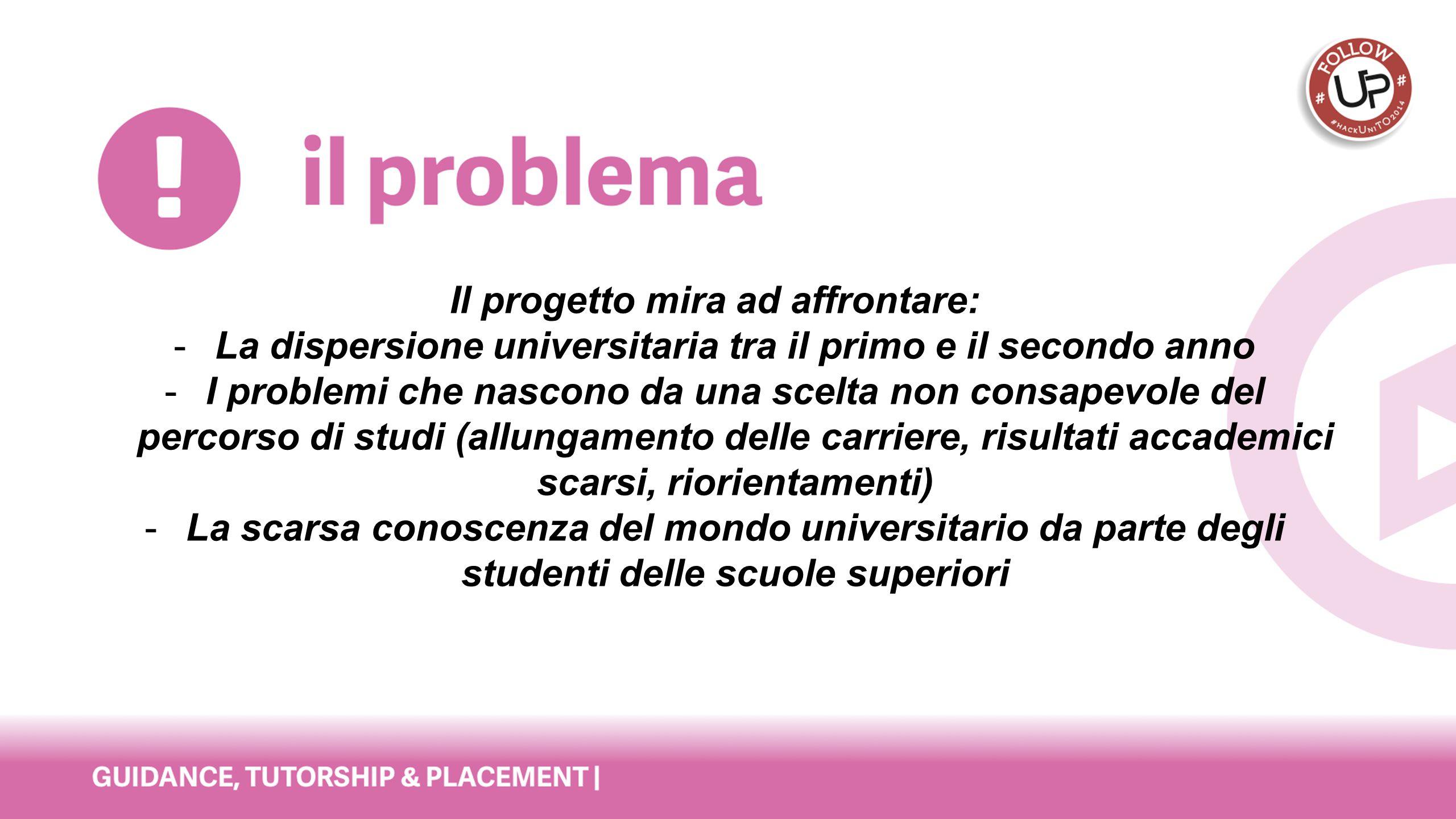 Il progetto mira ad affrontare: -La dispersione universitaria tra il primo e il secondo anno -I problemi che nascono da una scelta non consapevole del