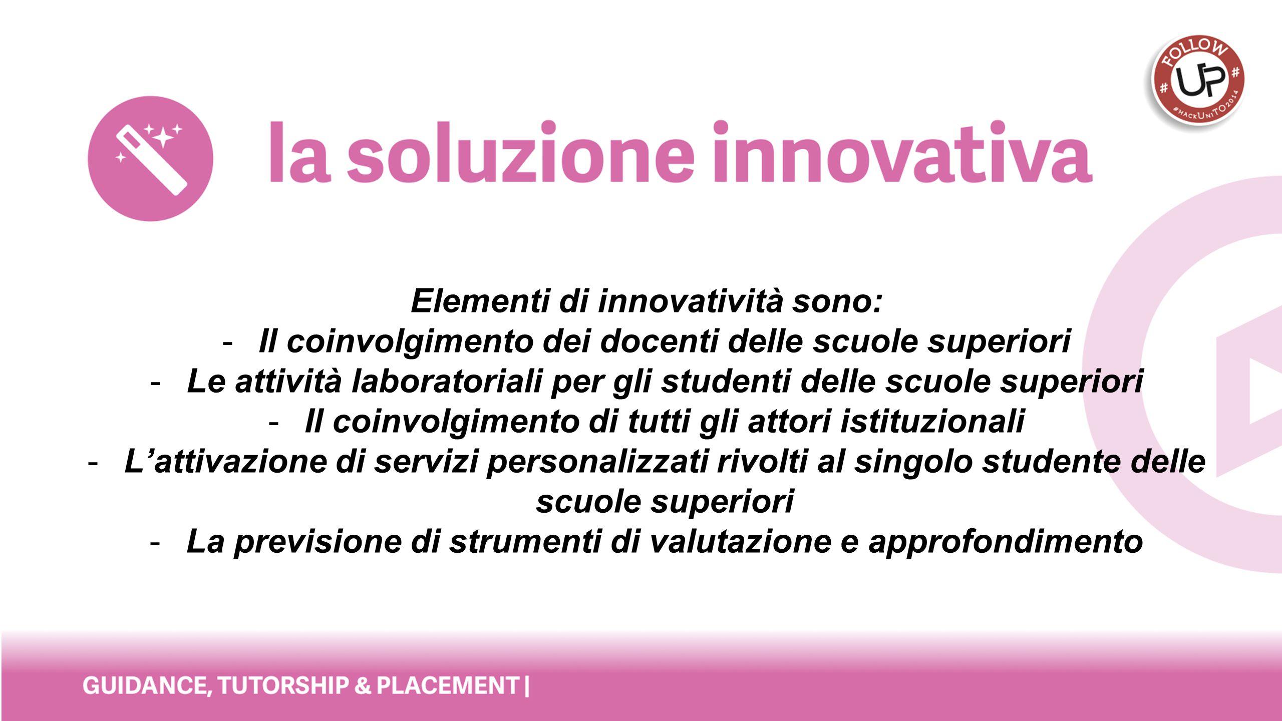 Elementi di innovatività sono: -Il coinvolgimento dei docenti delle scuole superiori -Le attività laboratoriali per gli studenti delle scuole superior