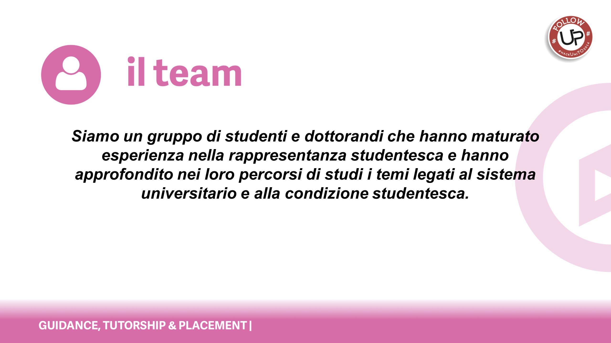 Siamo un gruppo di studenti e dottorandi che hanno maturato esperienza nella rappresentanza studentesca e hanno approfondito nei loro percorsi di stud