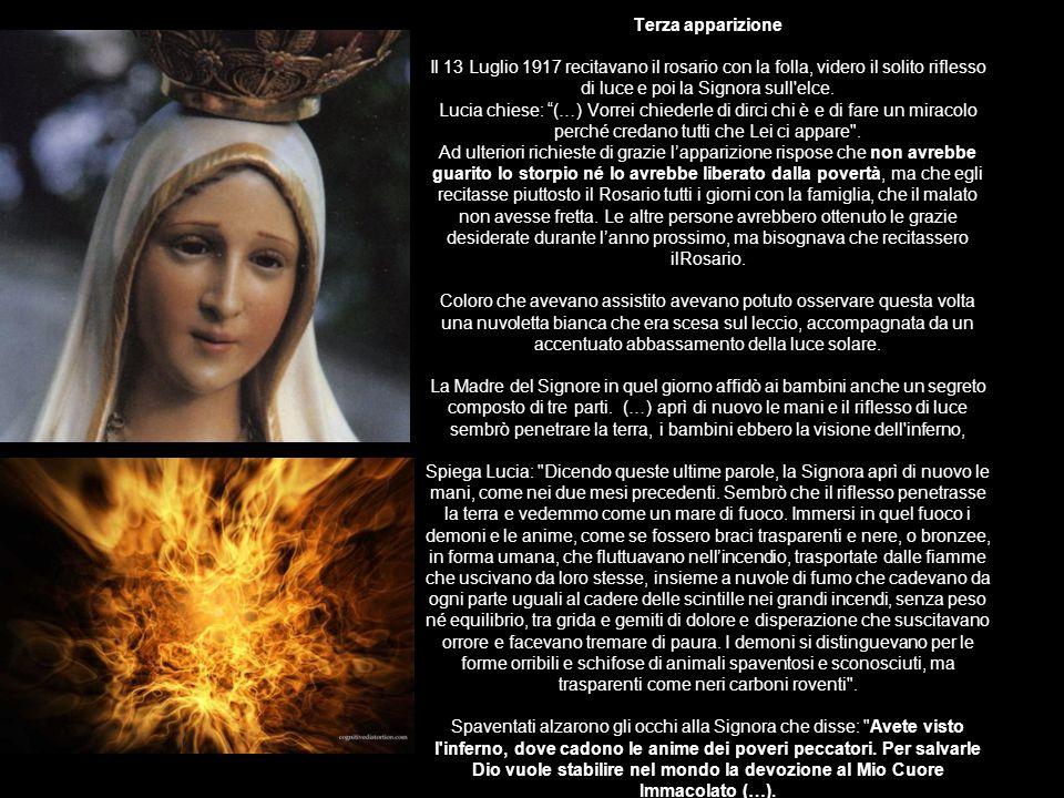 Terza apparizione Il 13 Luglio 1917 recitavano il rosario con la folla, videro il solito riflesso di luce e poi la Signora sull elce.
