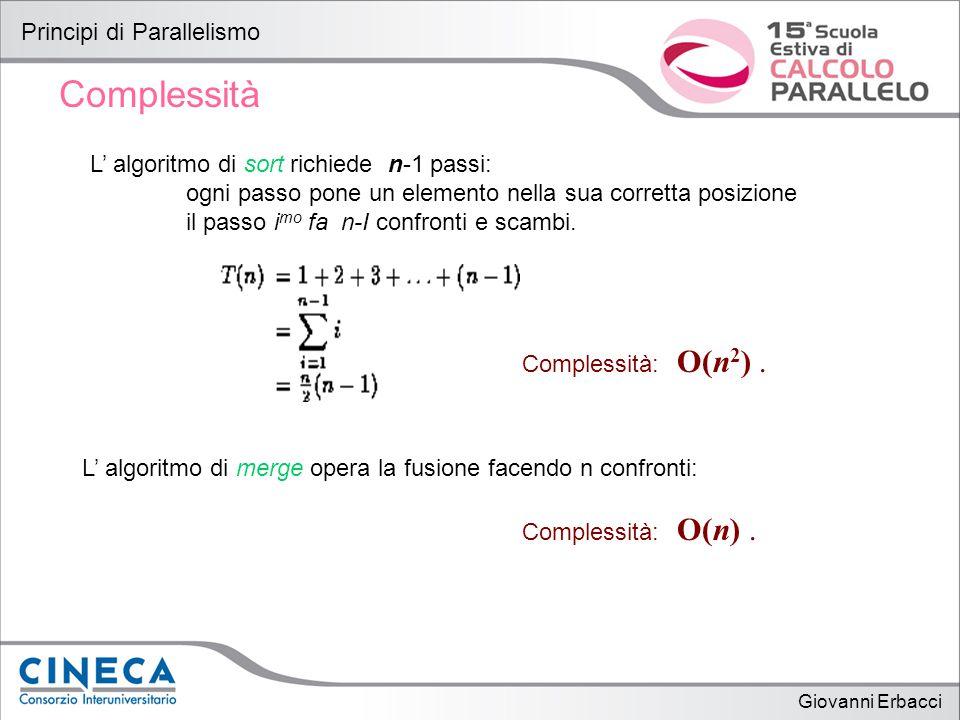 Giovanni Erbacci Principi di Parallelismo Complessità L' algoritmo di sort richiede n-1 passi: ogni passo pone un elemento nella sua corretta posizione il passo i mo fa n-I confronti e scambi.