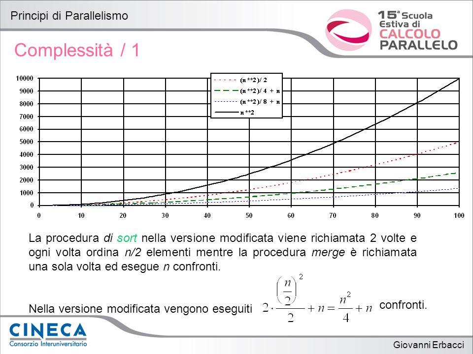 Giovanni Erbacci Principi di Parallelismo Complessità / 1 La procedura di sort nella versione modificata viene richiamata 2 volte e ogni volta ordina n/2 elementi mentre la procedura merge è richiamata una sola volta ed esegue n confronti.