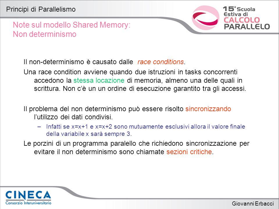 Giovanni Erbacci Principi di Parallelismo Note sul modello Shared Memory: Non determinismo Il non-determinismo è causato dalle race conditions.