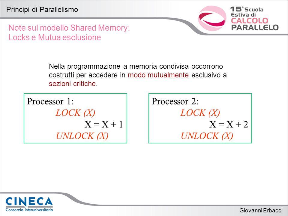 Giovanni Erbacci Principi di Parallelismo Note sul modello Shared Memory: Locks e Mutua esclusione Nella programmazione a memoria condivisa occorrono costrutti per accedere in modo mutualmente esclusivo a sezioni critiche.