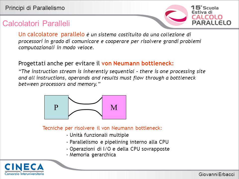 Giovanni Erbacci Principi di Parallelismo Calcolatori Paralleli Un calcolatore parallelo è un sistema costituito da una collezione di processori in grado di comunicare e cooperare per risolvere grandi problemi computazionali in modo veloce.