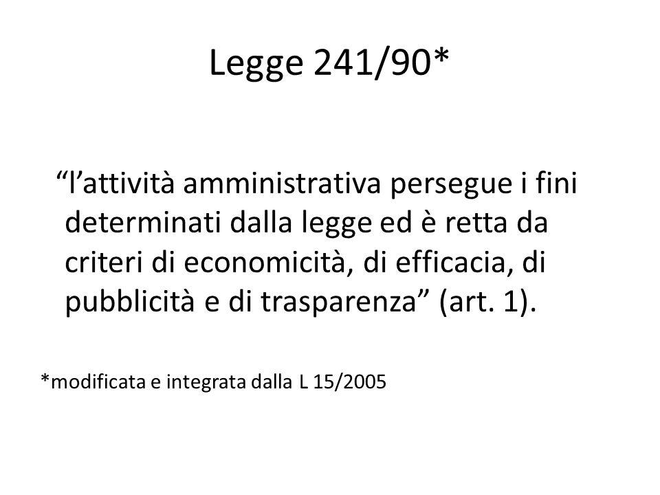Legge 241/90* l'attività amministrativa persegue i fini determinati dalla legge ed è retta da criteri di economicità, di efficacia, di pubblicità e di trasparenza (art.