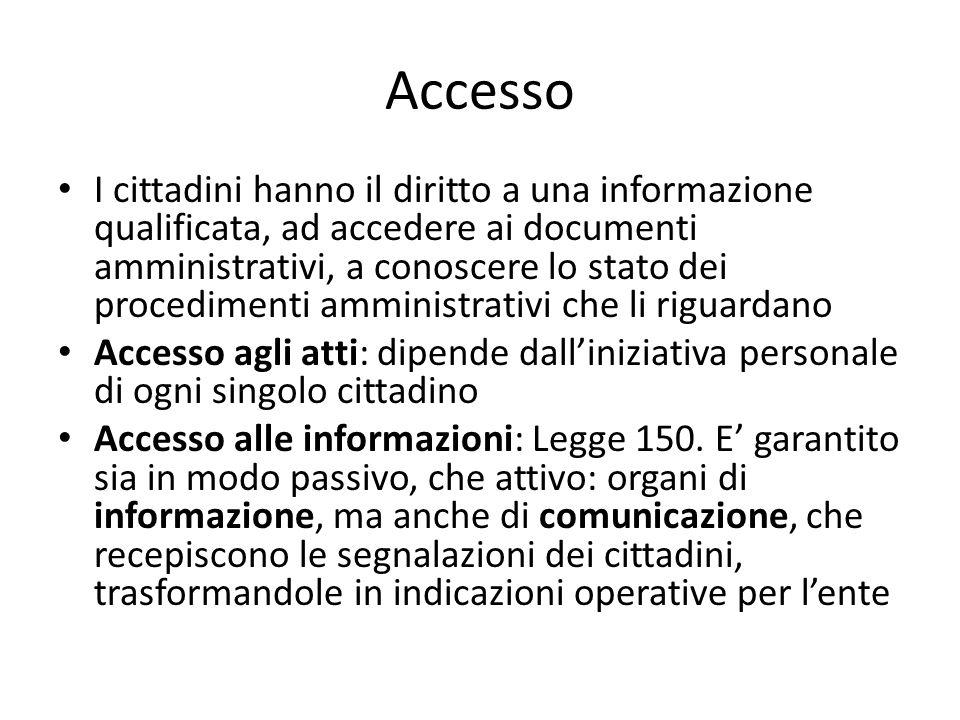 Accesso I cittadini hanno il diritto a una informazione qualificata, ad accedere ai documenti amministrativi, a conoscere lo stato dei procedimenti amministrativi che li riguardano Accesso agli atti: dipende dall'iniziativa personale di ogni singolo cittadino Accesso alle informazioni: Legge 150.