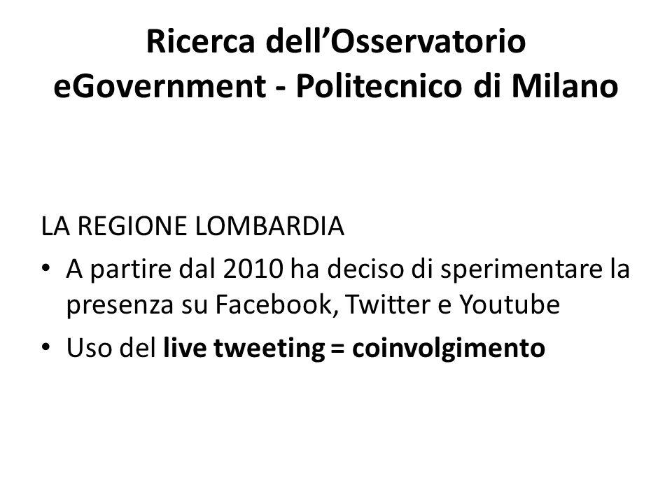 Ricerca dell'Osservatorio eGovernment - Politecnico di Milano LA REGIONE LOMBARDIA A partire dal 2010 ha deciso di sperimentare la presenza su Facebook, Twitter e Youtube Uso del live tweeting = coinvolgimento