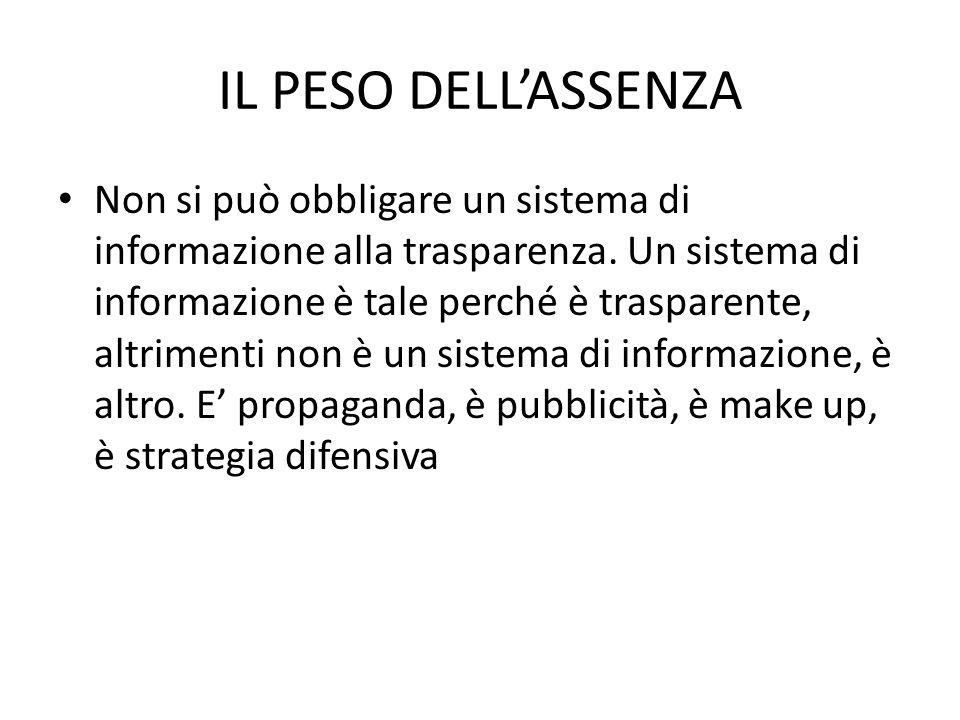 IL PESO DELL'ASSENZA Non si può obbligare un sistema di informazione alla trasparenza.