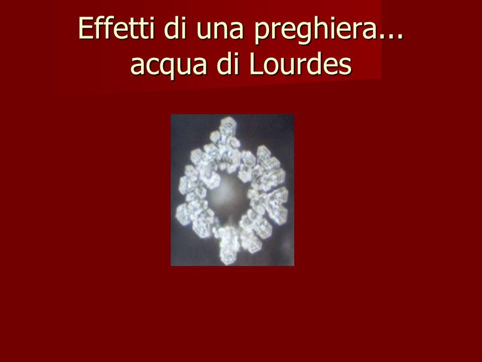 Effetti di una preghiera... acqua di Lourdes