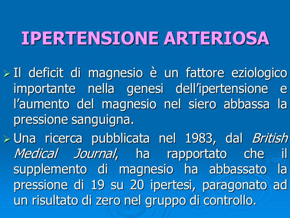  Il deficit di magnesio è un fattore eziologico importante nella genesi dell'ipertensione e l'aumento del magnesio nel siero abbassa la pressione sanguigna.