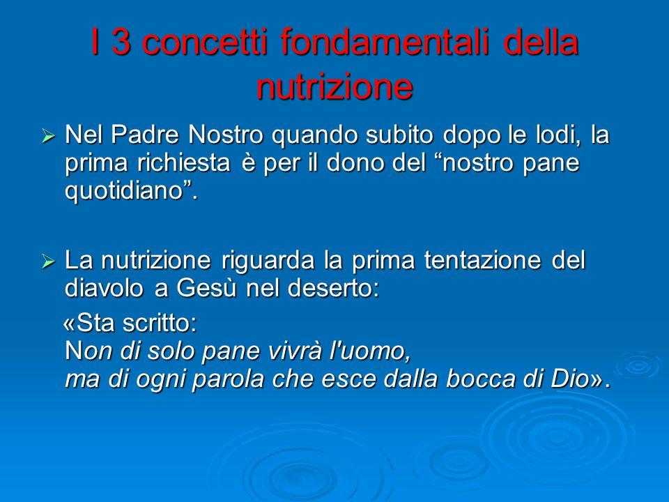 I 3 concetti fondamentali della nutrizione  Nel Padre Nostro quando subito dopo le lodi, la prima richiesta è per il dono del nostro pane quotidiano .