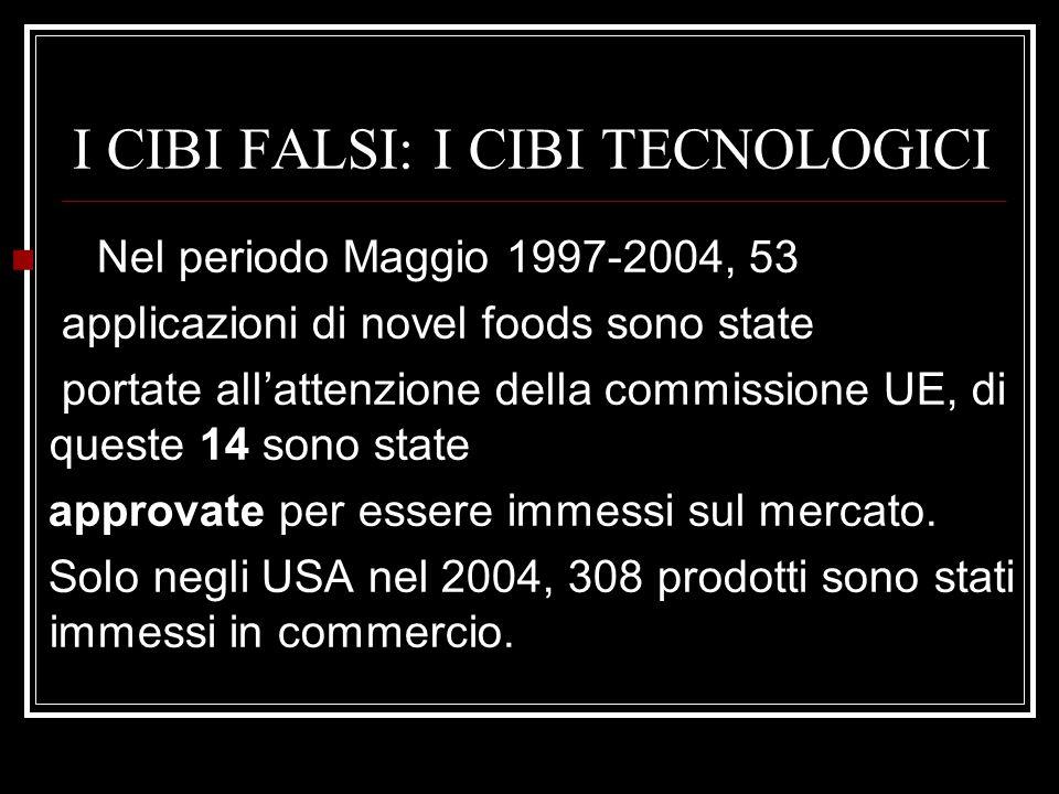I CIBI FALSI: I CIBI TECNOLOGICI Nel periodo Maggio 1997-2004, 53 applicazioni di novel foods sono state portate all'attenzione della commissione UE, di queste 14 sono state approvate per essere immessi sul mercato.