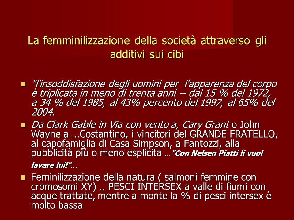 La femminilizzazione della società attraverso gli additivi sui cibi l insoddisfazione degli uomini per l apparenza del corpo è triplicata in meno di trenta anni -- dal 15 % del 1972, a 34 % del 1985, al 43% percento del 1997, al 65% del 2004.