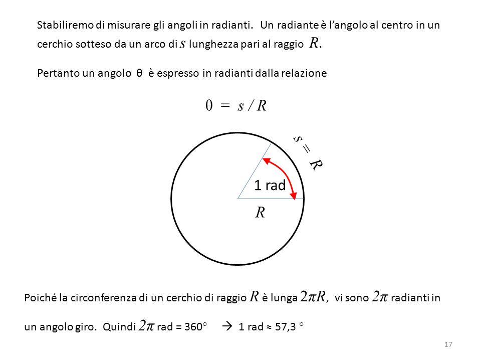 Stabiliremo di misurare gli angoli in radianti. Un radiante è l'angolo al centro in un cerchio sotteso da un arco di s lunghezza pari al raggio R. Per