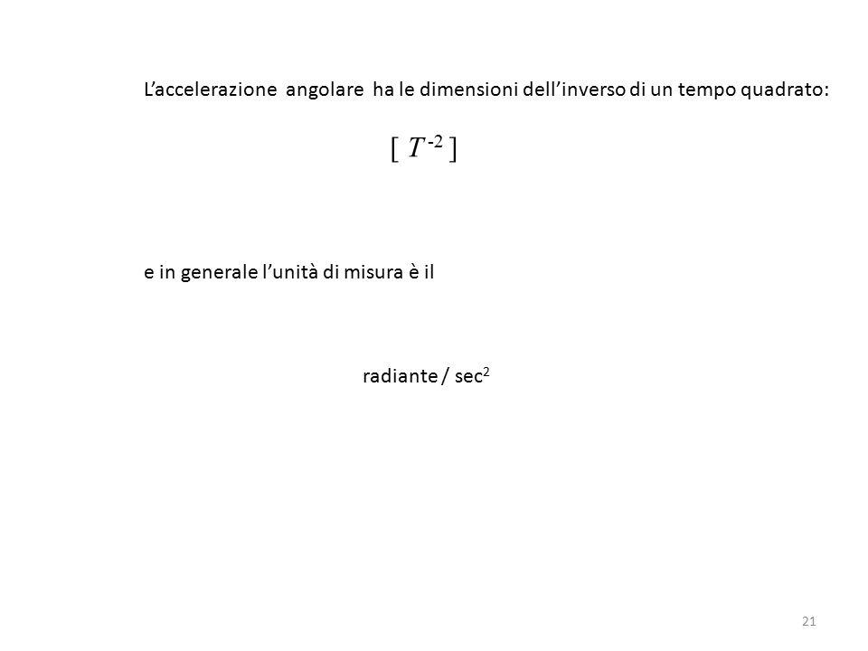 L'accelerazione angolare ha le dimensioni dell'inverso di un tempo quadrato: [ T -2 ] e in generale l'unità di misura è il radiante / sec 2 21