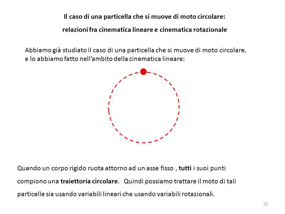 Il caso di una particella che si muove di moto circolare: relazioni fra cinematica lineare e cinematica rotazionale Abbiamo già studiato il caso di una particella che si muove di moto circolare, e lo abbiamo fatto nell'ambito della cinematica lineare: Quando un corpo rigido ruota attorno ad un asse fisso, tutti i suoi punti compiono una traiettoria circolare.