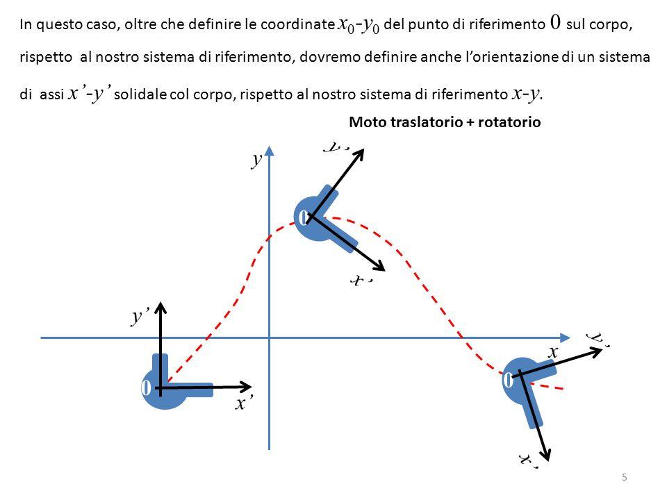 x y In questo caso, oltre che definire le coordinate x 0 -y 0 del punto di riferimento 0 sul corpo, rispetto al nostro sistema di riferimento, dovremo definire anche l'orientazione di un sistema di assi x'-y' solidale col corpo, rispetto al nostro sistema di riferimento x-y.