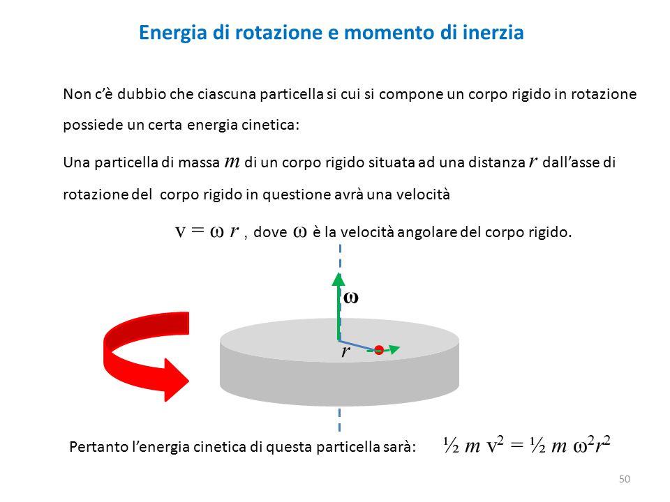 Energia di rotazione e momento di inerzia Non c'è dubbio che ciascuna particella si cui si compone un corpo rigido in rotazione possiede un certa energia cinetica: Una particella di massa m di un corpo rigido situata ad una distanza r dall'asse di rotazione del corpo rigido in questione avrà una velocità v = ω r, dove ω è la velocità angolare del corpo rigido.