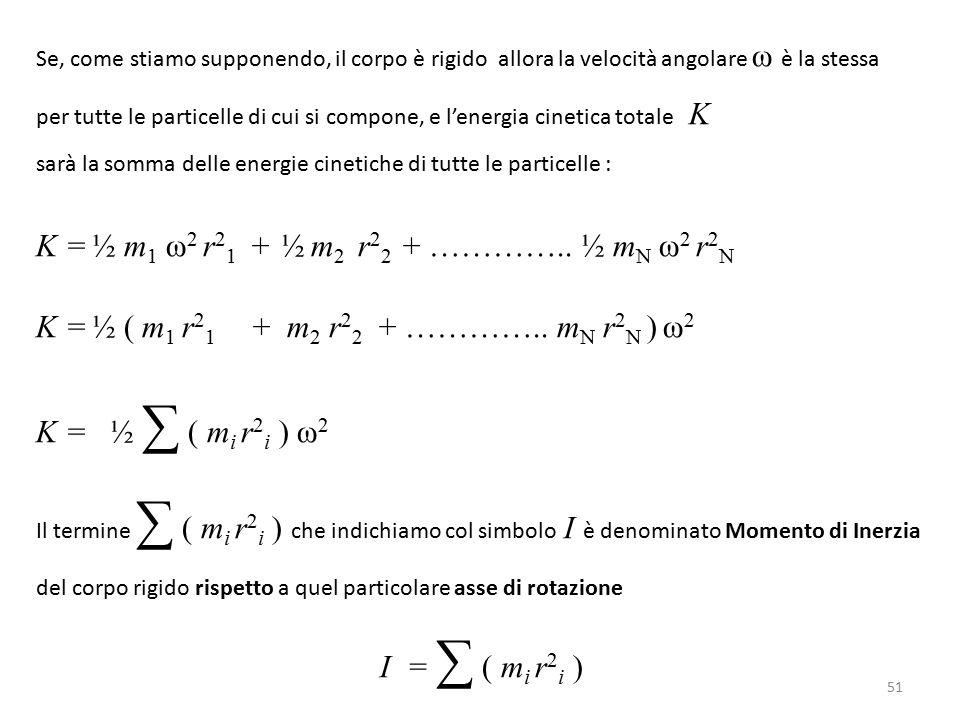 Se, come stiamo supponendo, il corpo è rigido allora la velocità angolare ω è la stessa per tutte le particelle di cui si compone, e l'energia cinetica totale K sarà la somma delle energie cinetiche di tutte le particelle : K = ½ m 1 ω 2 r 2 1 + ½ m 2 r 2 2 + …………..