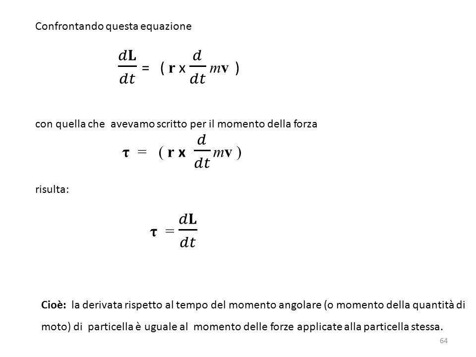 Cioè: la derivata rispetto al tempo del momento angolare (o momento della quantità di moto) di particella è uguale al momento delle forze applicate alla particella stessa.