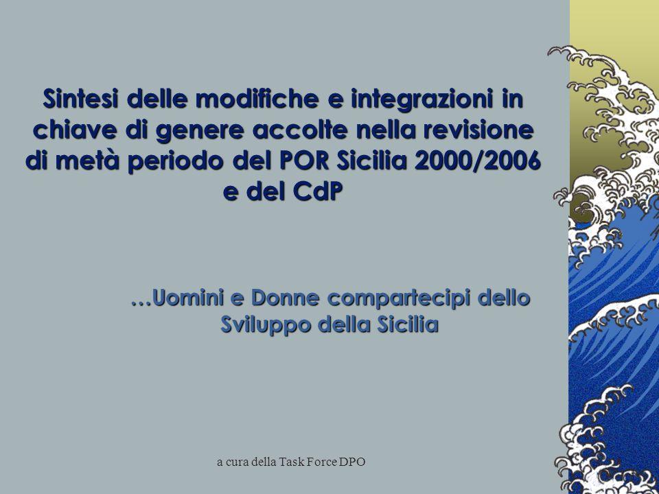 a cura della Task Force DPO Sintesi delle modifiche e integrazioni in chiave di genere accolte nella revisione di metà periodo del POR Sicilia 2000/2006 e del CdP …Uomini e Donne compartecipi dello Sviluppo della Sicilia