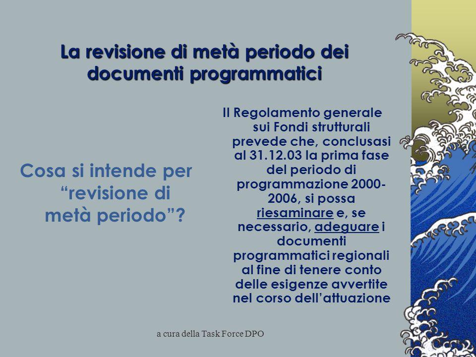 a cura della Task Force DPO La revisione di metà periodo dei documenti programmatici Cosa si intende per revisione di metà periodo .
