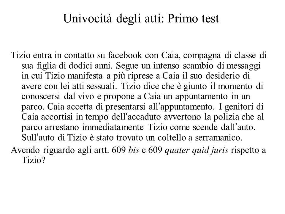 Univocità degli atti: Primo test Tizio entra in contatto su facebook con Caia, compagna di classe di sua figlia di dodici anni.