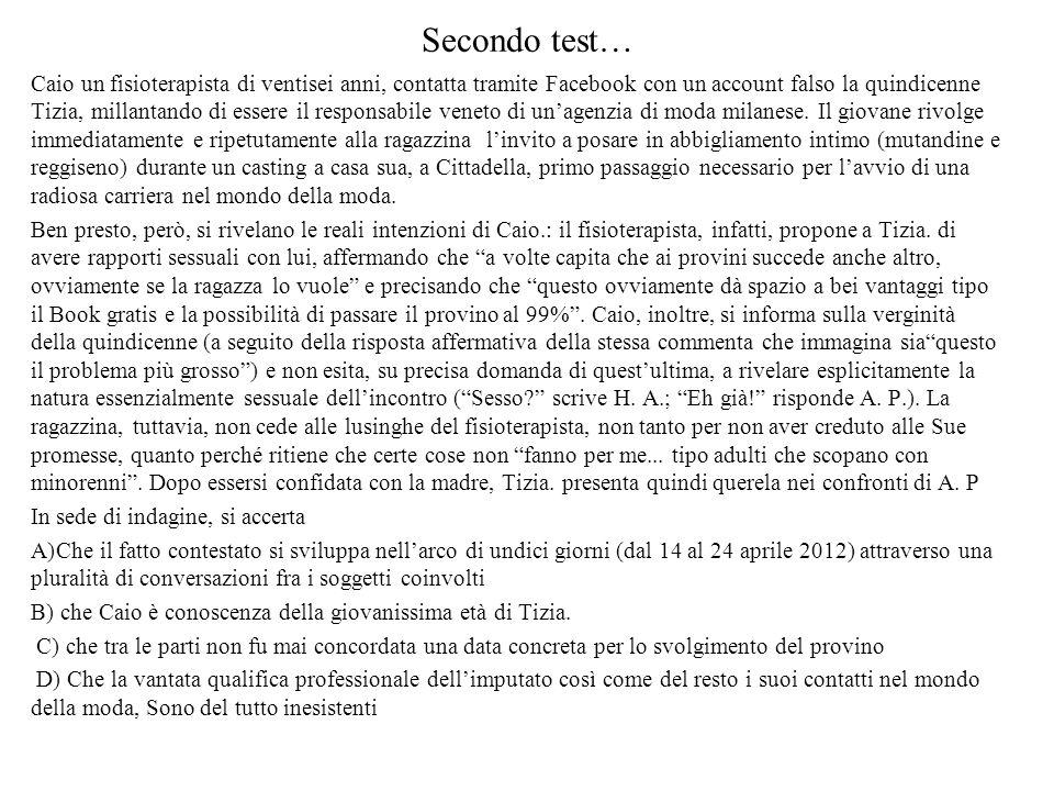 Secondo test… Caio un fisioterapista di ventisei anni, contatta tramite Facebook con un account falso la quindicenne Tizia, millantando di essere il responsabile veneto di un'agenzia di moda milanese.