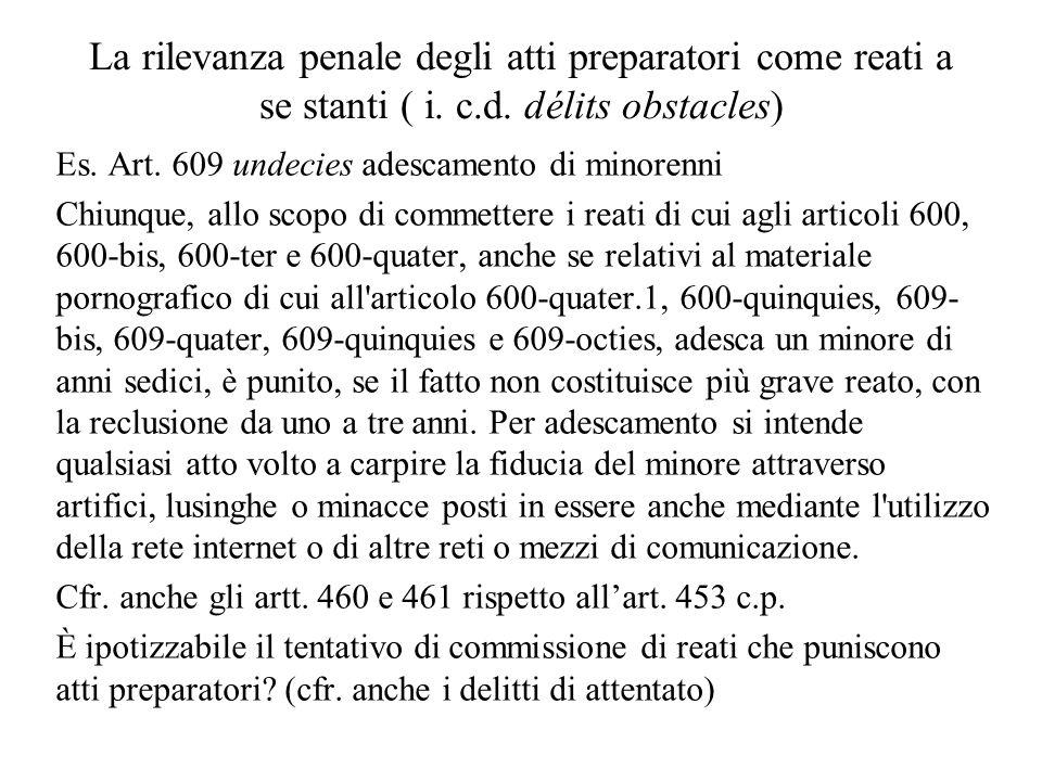 La rilevanza penale degli atti preparatori come reati a se stanti ( i.